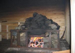 печь в бане по чёрному